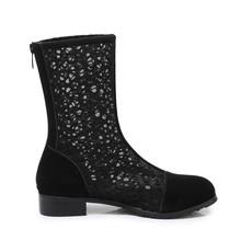 靴子女春季新款粗跟单靴网纱凉靴网靴中筒高跟女鞋子