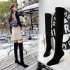 9789-6 Korean fashion women's boots transparent crystal heel high square suede sexy slim knee high boots