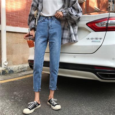 实拍实价 新款韩版高腰宽松哈伦牛仔裤女百搭显瘦长裤子