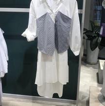 一件代發2019H夏季新款時尚格紋拼接面料七分袖連衣裙女3192SZ511