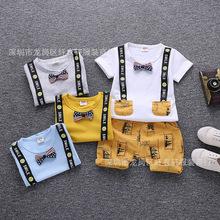 2019韓版熱銷新款 夏季 地攤貨童裝兩件套裝 短袖短褲印花套貨源