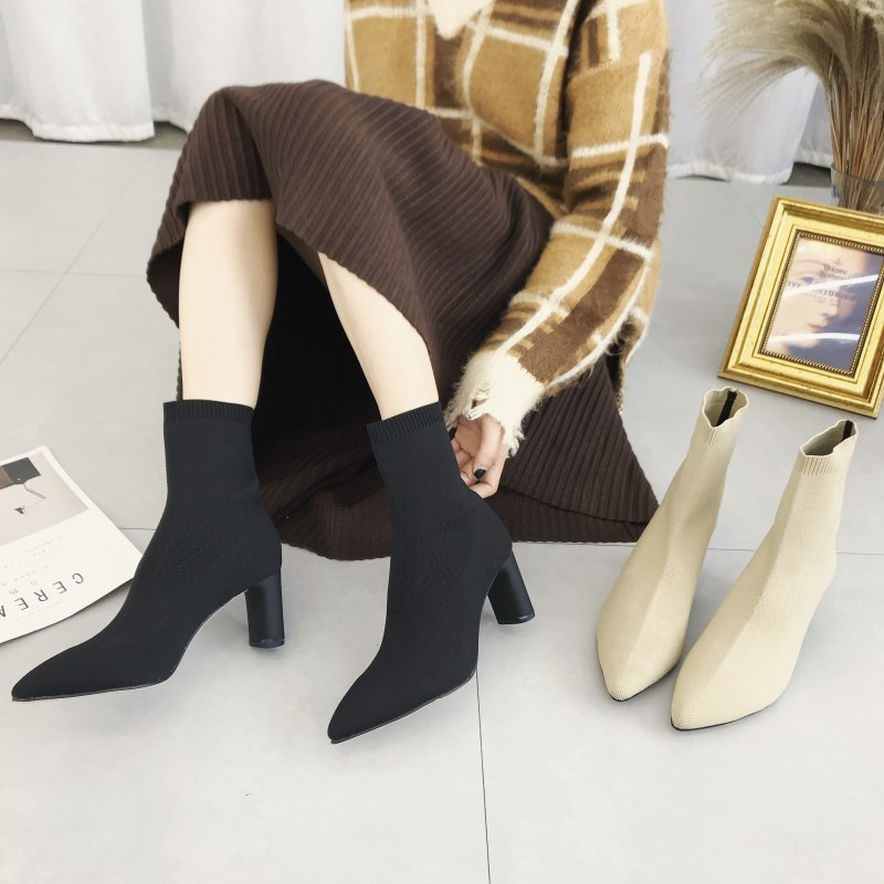 Rough Knitted Socks Boots High Heel Net Red Skinny Boots Ankle Boots NHSO157346