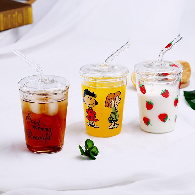 儿童牛奶杯玻璃杯家用喝水杯早餐杯吸管杯带盖网红杯子