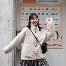 廠家直銷自制 軟糯可愛牛角扣絨絨外套自帶溫暖感羊羔毛棉服女冬