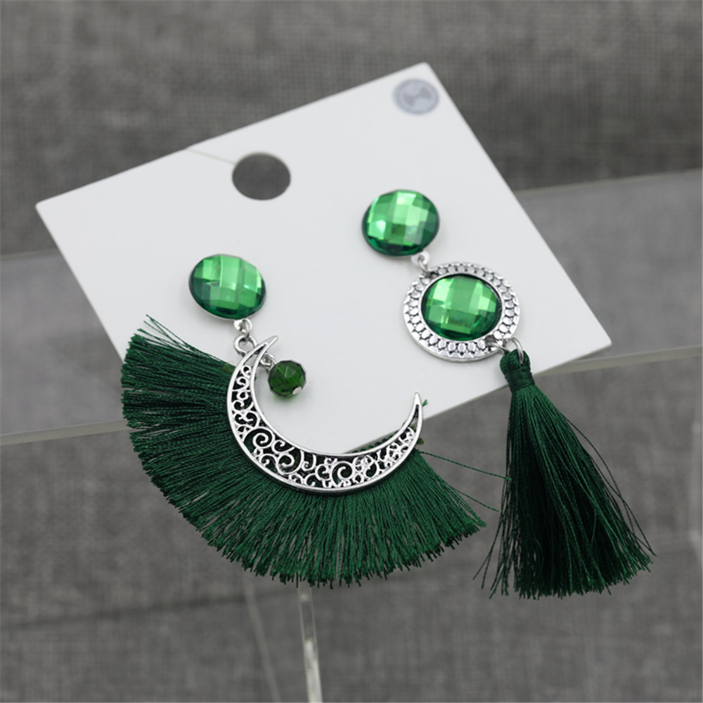 Fashion Green Tassel Irregular Earrings Wholesale NHZU198167