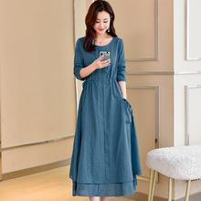 杭州四季青廠家直銷批發2020春季新款韓版圓領棉麻連衣裙 XS171