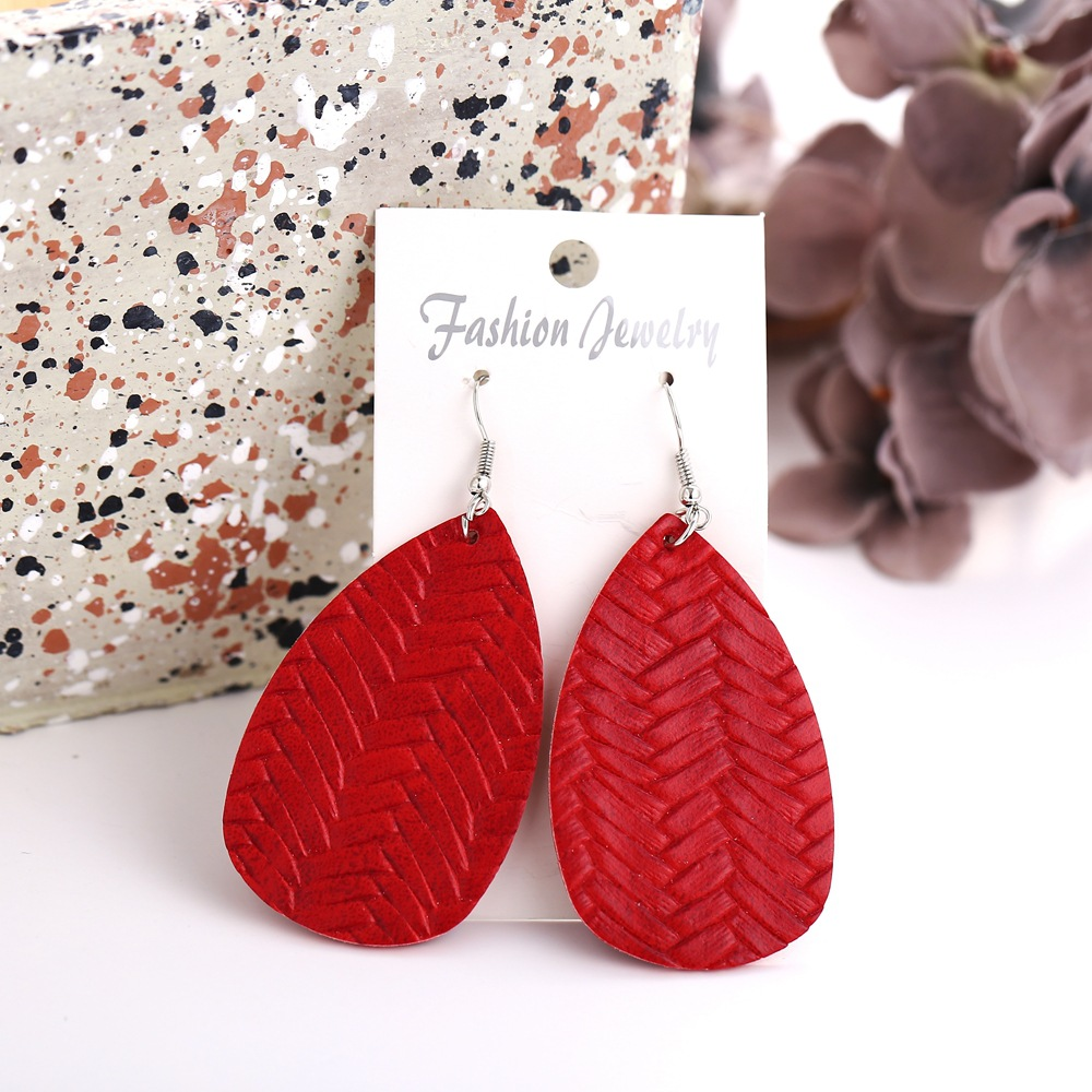 New Big Red Woven Earrings Creative Retro Simple Earrings NHPJ188050