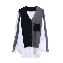 V领长袖针织开衫 2019设计感假两件衬衫撞色宽松针织外套