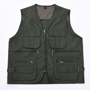 Spring and autumn new outdoor cotton waistcoat male middle-aged and elderly fishing photography multi-pocket double vest LOGO customization