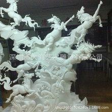 厂家直销3D泡沫八马俊图雕塑 大型高浮雕美陈室内定制动物