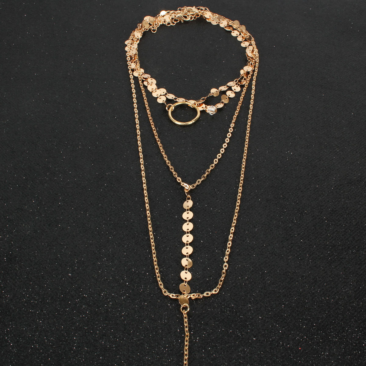 Fashion jewelry necklace handmade sequins fringed clavicle neck chain women NHCT187695