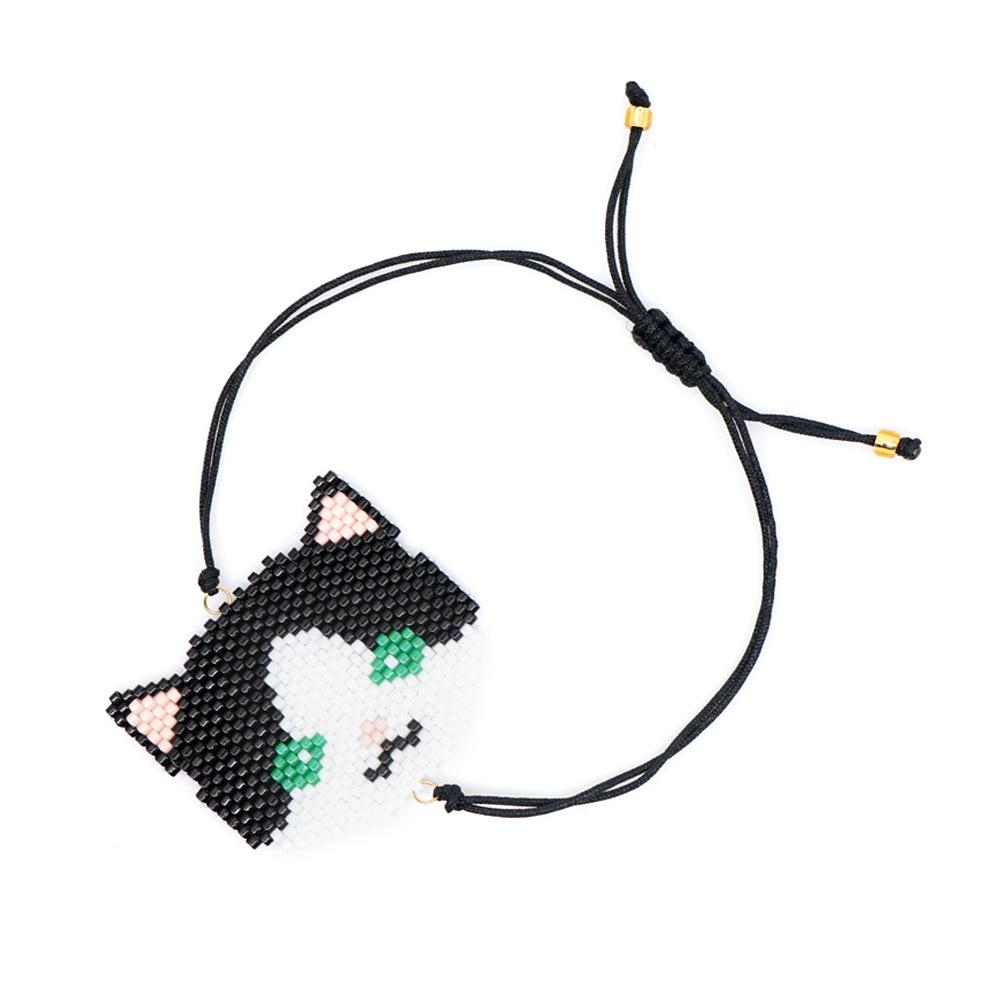 Handwoven beads cat avatar pattern bracelet NHGW157165
