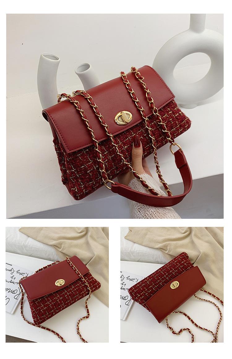 Bolso de lana bolso de hombro de bolso de cadena de nueva moda femenina NHPB178757