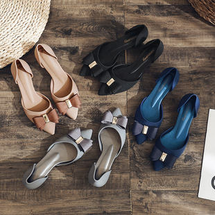 Summer jelly shoes bowknot brand pointed toe fashion high heels diamond buckle bow mid-heel ins tide sandals women