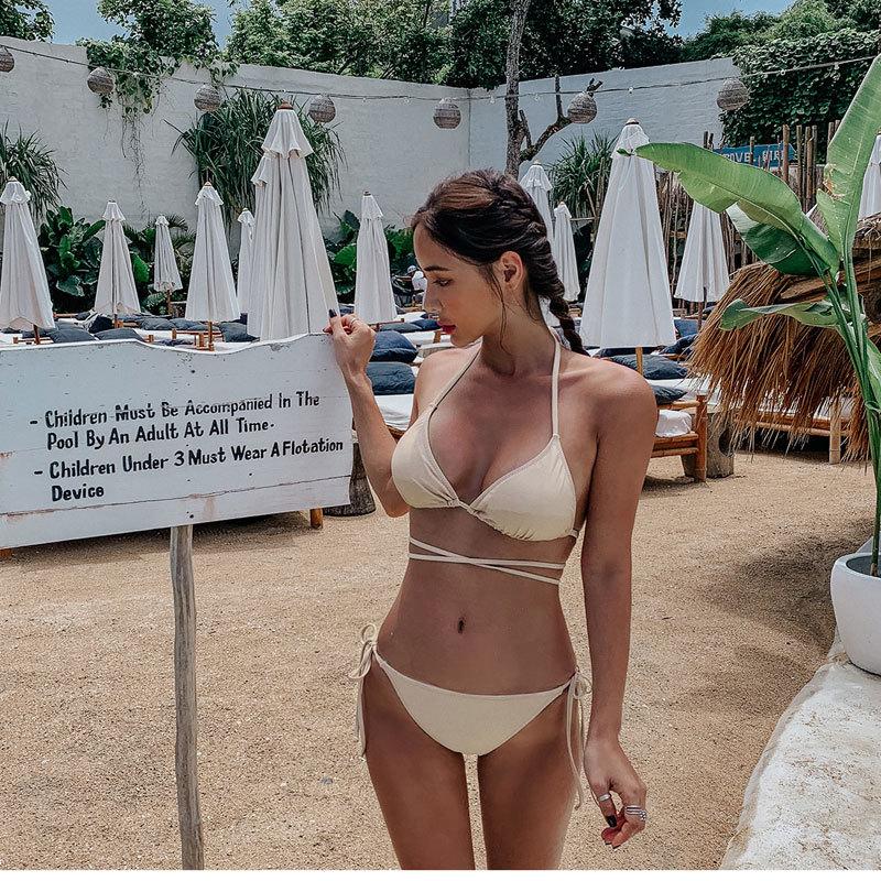 New Sexy Bikini Halter Bow Tie Spa Low Waist Split Female Swimsuit NHHL198840