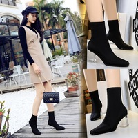 9789-3 European and American fashion transparent and elastic Lycra square head slim sexy nightclub show thin short boots thin boots