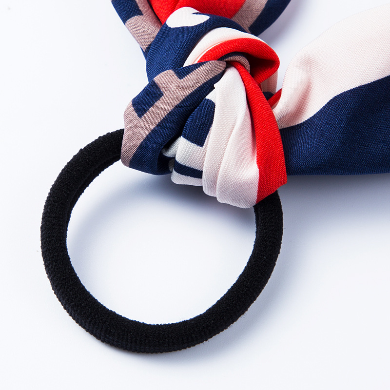Fashion fruit pattern cloth hair ring black headband bow ribbon ribbon big intestine ring NHLN170315