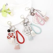 伊思雅新款手工系列PU皮繩圓珠流蘇小花掛件女生包包裝飾鑰匙扣