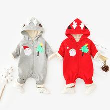 跨境热销新生儿外出服 ins爆款圣诞宝宝哈衣加绒保暖婴儿连体衣