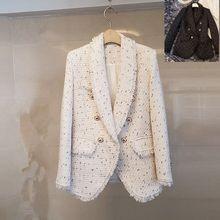 2020新款秋冬女装粗花呢长袖修身小香风外套中长款流苏翻领西装