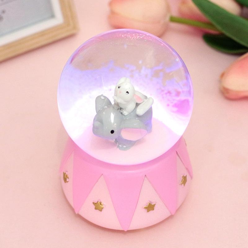可爱粉色小象水晶球情侣八音盒音乐盒创意生日毕业礼物礼品送女生