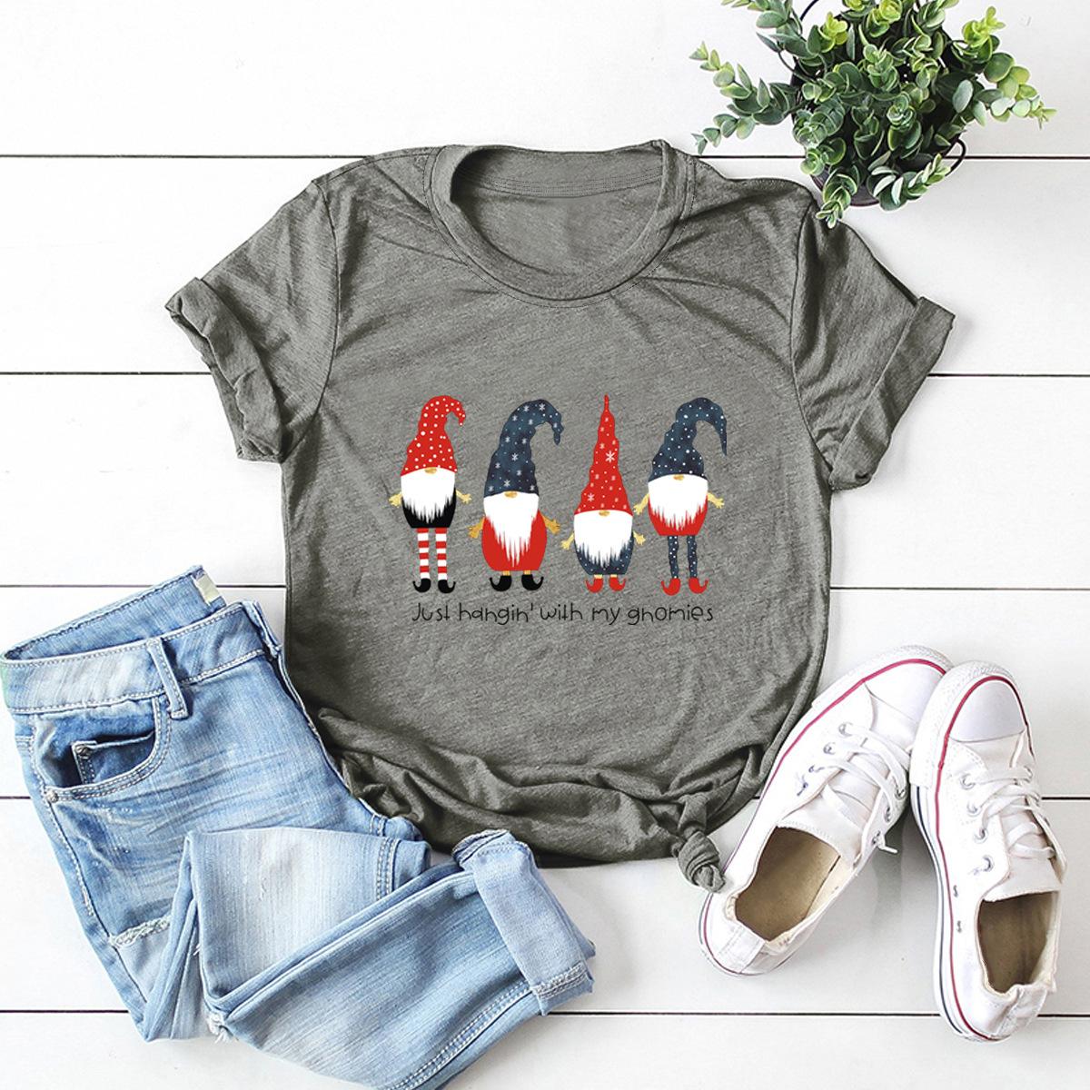 hot selling short-sleeved blouse Merry Christmas cartoon print T-shirt NSSN2570