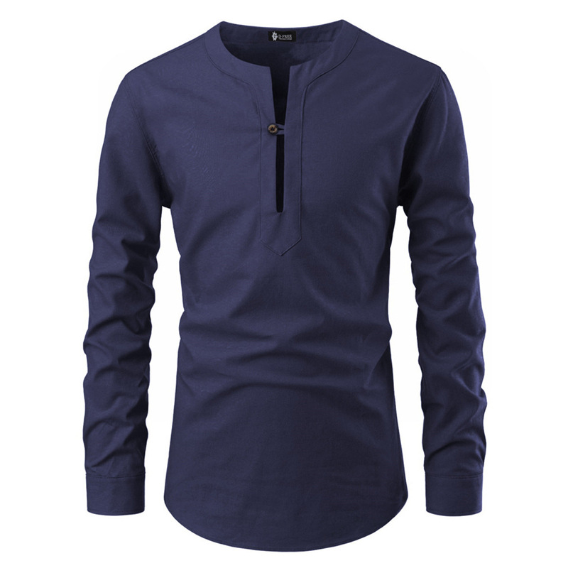 Foreign trade new style men's slim fitting Pullover stand collar one button V-Neck long sleeve shirt men's British style oversize shirt