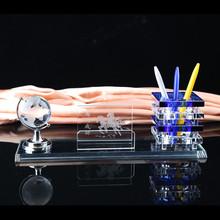 水晶笔筒三件套纪念办公用品商务礼品摆件创意实用定制刻字logo