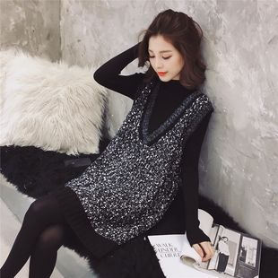 Spring and autumn new Korean style V-neck loose waistcoat knitted bright silk vest skirt + high-neck base sweater two-piece women's clothing