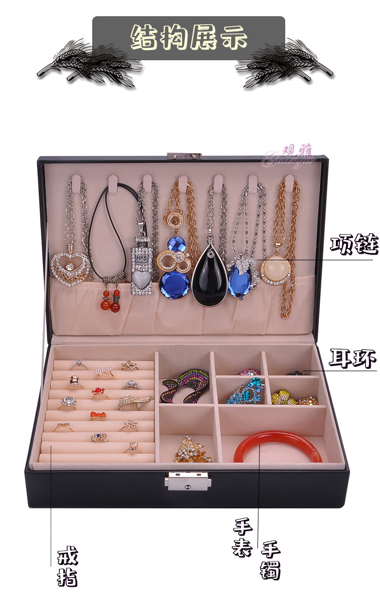 New fashion leather single-layer rectangular jewelry storage box necklace earrings ring storage and storage jewelry box NHHW238001