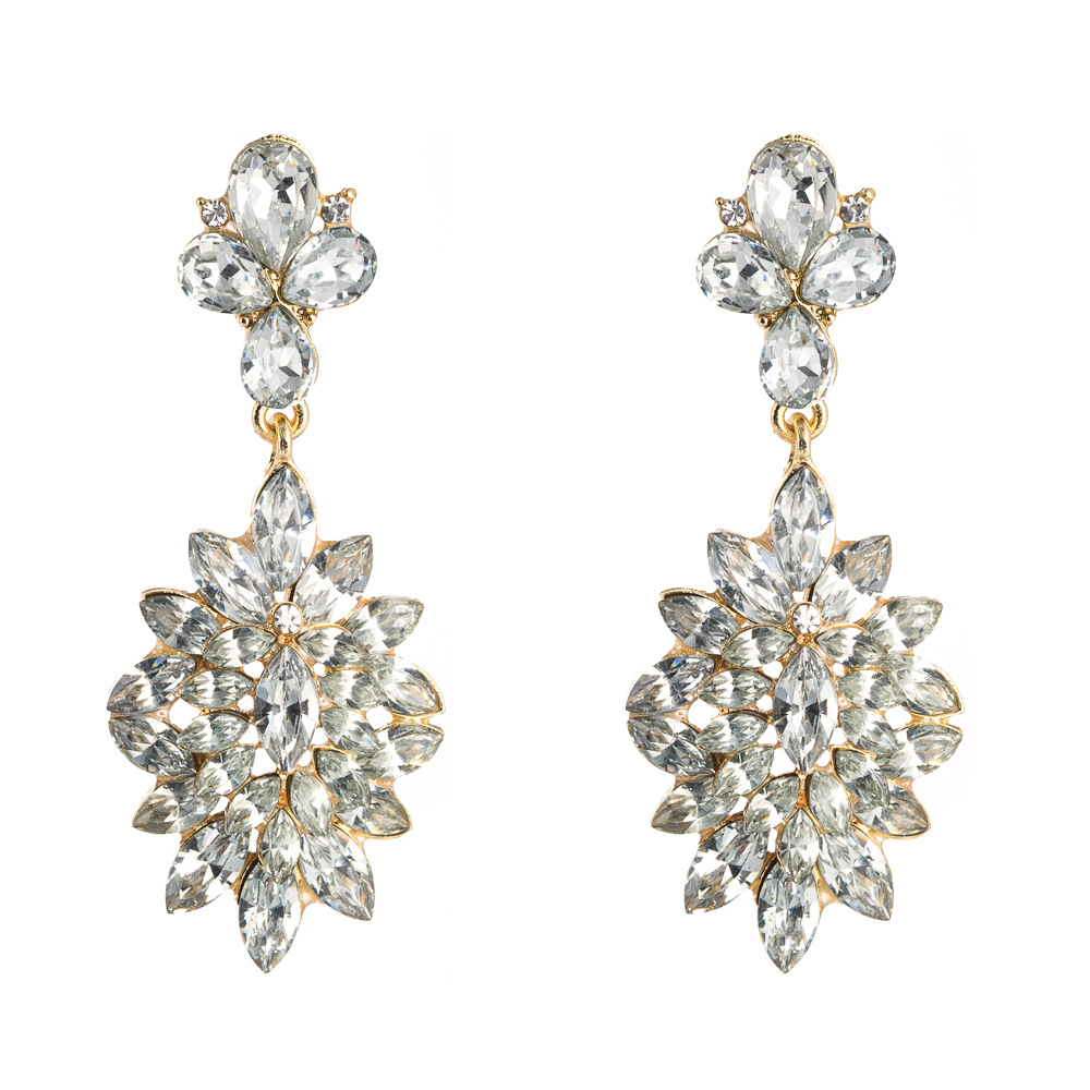 2020 Europe and the United States za big brand new high-end temperament earrings alloy flower-shaped super flash color rhinestone long earrings NHLN190286
