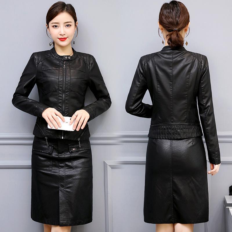 拼接皮衣套装女2019春装新款韩版修身显瘦机车pu皮外套皮裙两件套