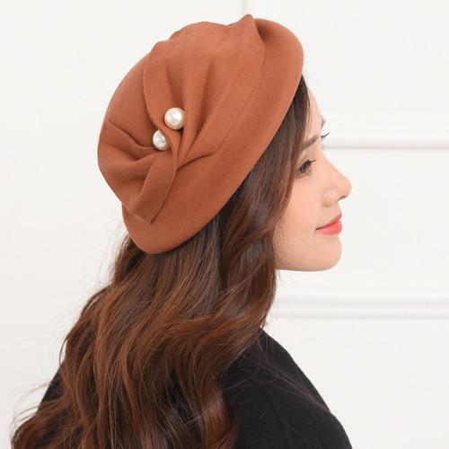 Party hats Fedoras hats for women Big Pearl bow tie Belle hat painting hat woolen felt hat trend