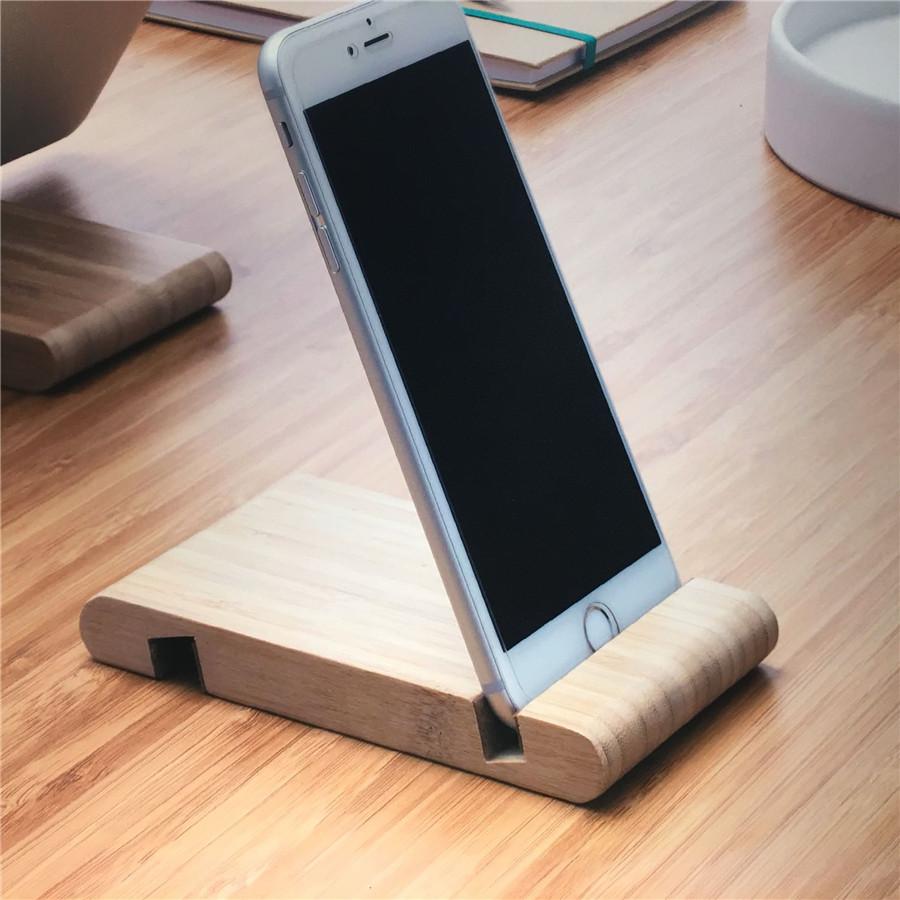 竹制手机底座桌面懒人手机支架 创意双槽平板电脑小支架现货定制