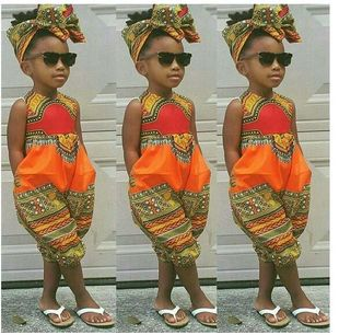 2019 foreign trade Amazon blast children's clothing African ethnic characteristics printed fashion girls' jumpsuit