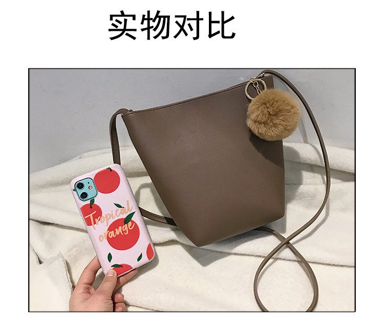 Bucket bag solid color fashion casual large capacity wild western style shoulder messenger bag women bag NHLD187203