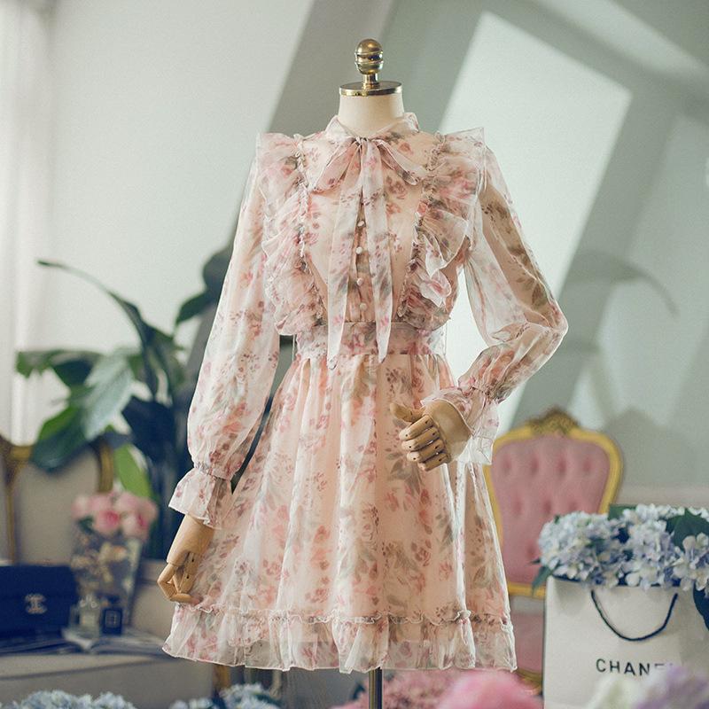現貨甜美印花蝴蝶結領荷葉邊雪紡連衣裙仙女裙子顯瘦夏防曬長袖