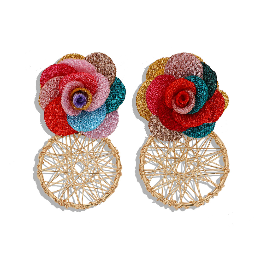 Korean new wave fabric flower alloy earrings hollow knit earrings jewelry accessories NHJQ196248