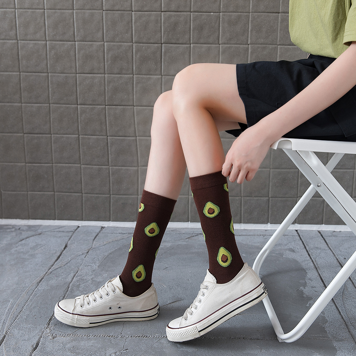 New poached egg fruit avocado cotton socks NHZG145664