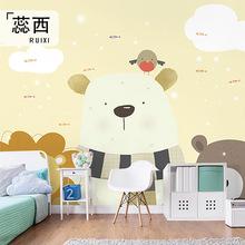 卡通动物暖色儿童房背景墙男孩女孩卧室墙布定制墙绘可爱儿童墙纸
