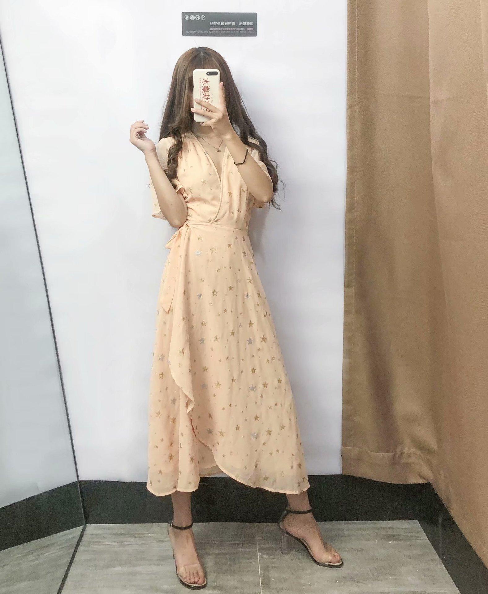 夏季新款女装欧美时尚流行星星图案烫金连衣裙一色三码h2060