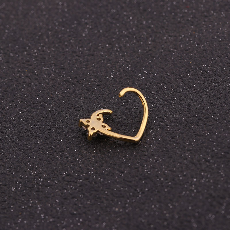 Hot selling micro-inlaid zircon round nose ring peach heart stud earrings NHEN256022