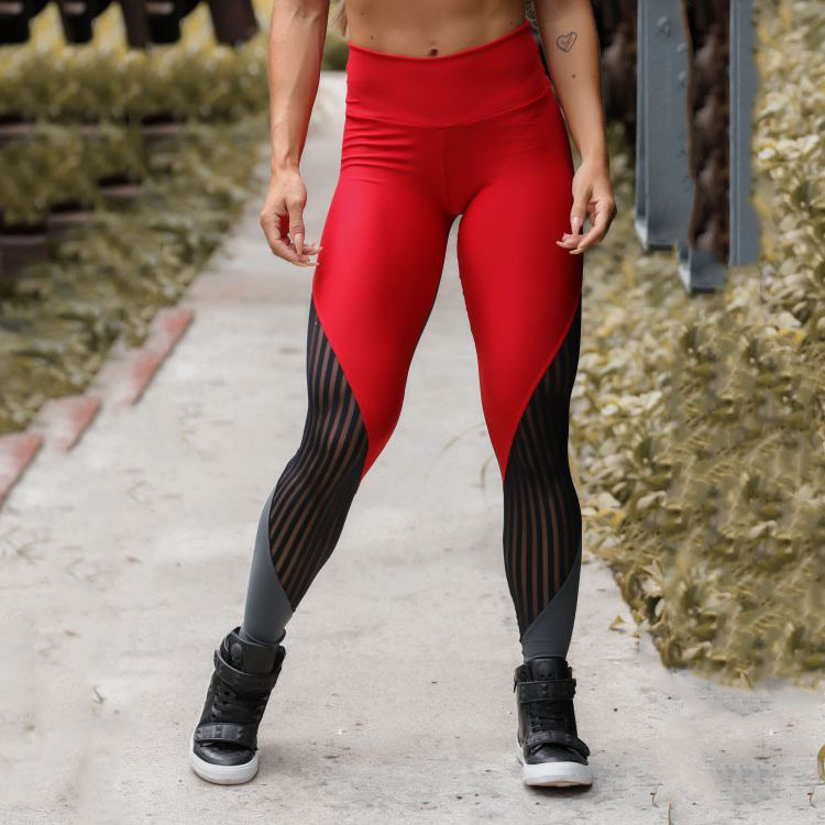 New red gray mesh stitching stretch tight-fitting sports yoga pants NHMA155839