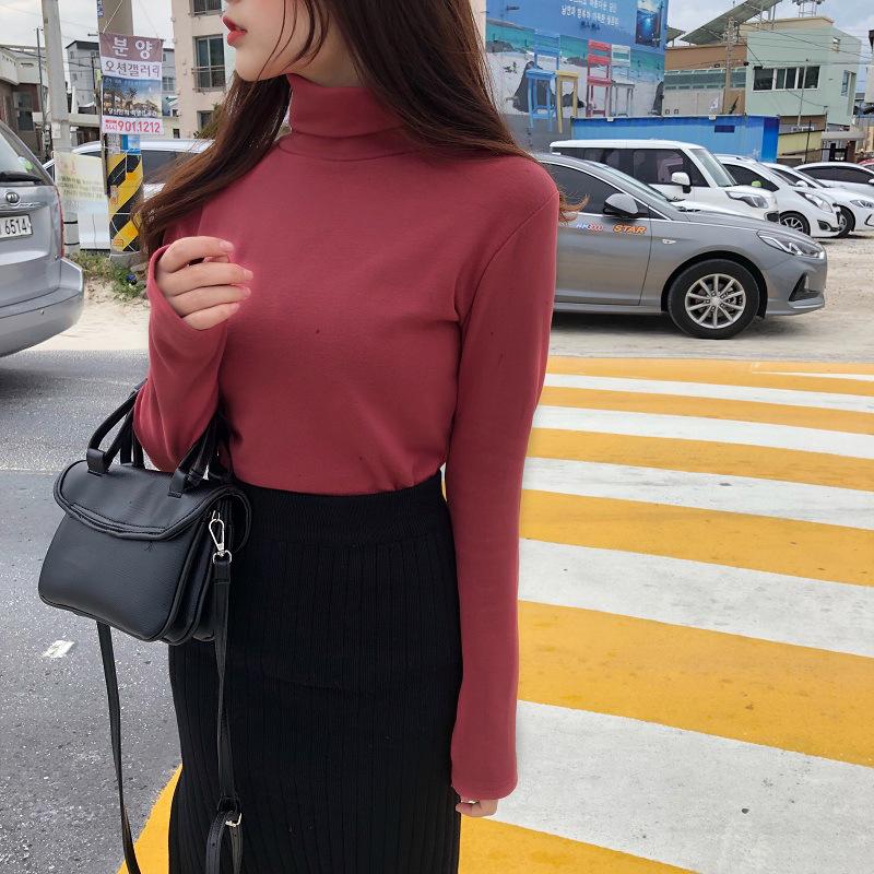 新款秋冬装韩版2019女装高领基础款纯色内里磨毛长袖t恤打底衫女
