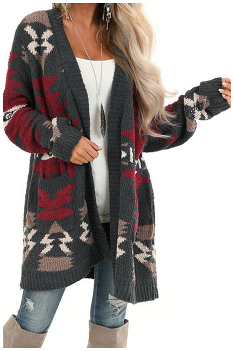 geometric pattern long knitted cardigan  NSSI2369