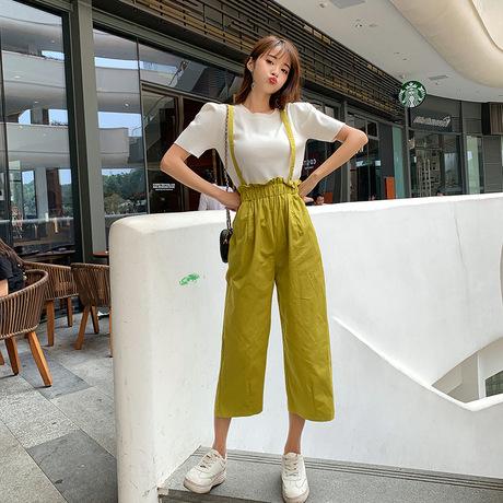 Hoa Hồng Thắng  quần top phù hợp với trang phục giản dị 2019 hè mới màu rắn nữ nữ tay ngắn