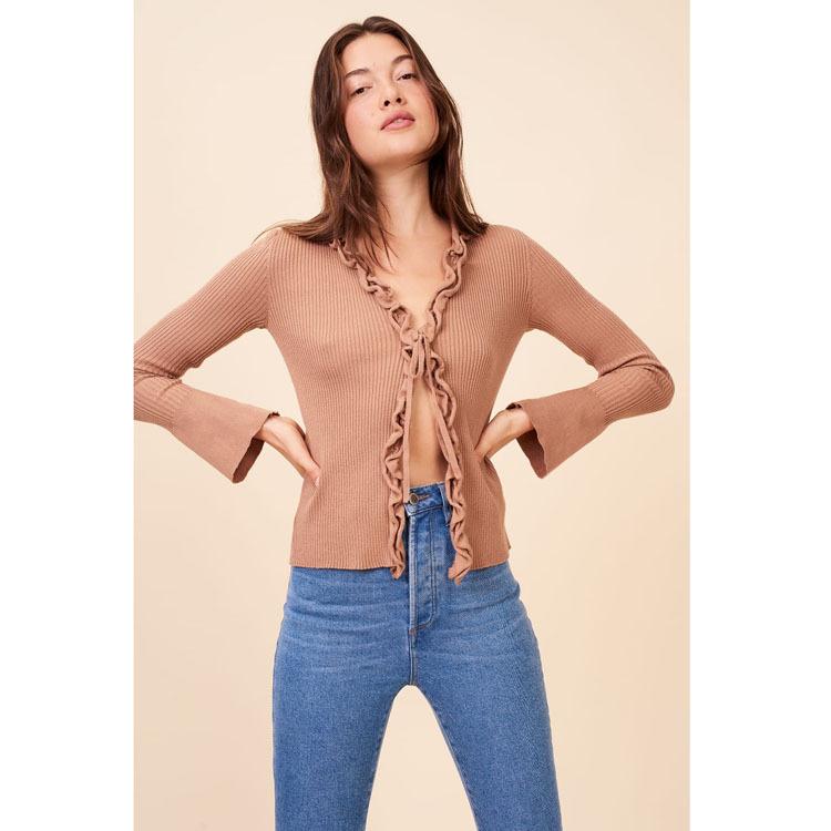 现货R199纯棉毛衣女2020新款春装长袖纯色V领短款修身上衣开衫