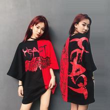 潮牌夏季17ss 红黑拼接翅膀短袖T恤手绘涂鸦恶魔宽松男女情侣同款
