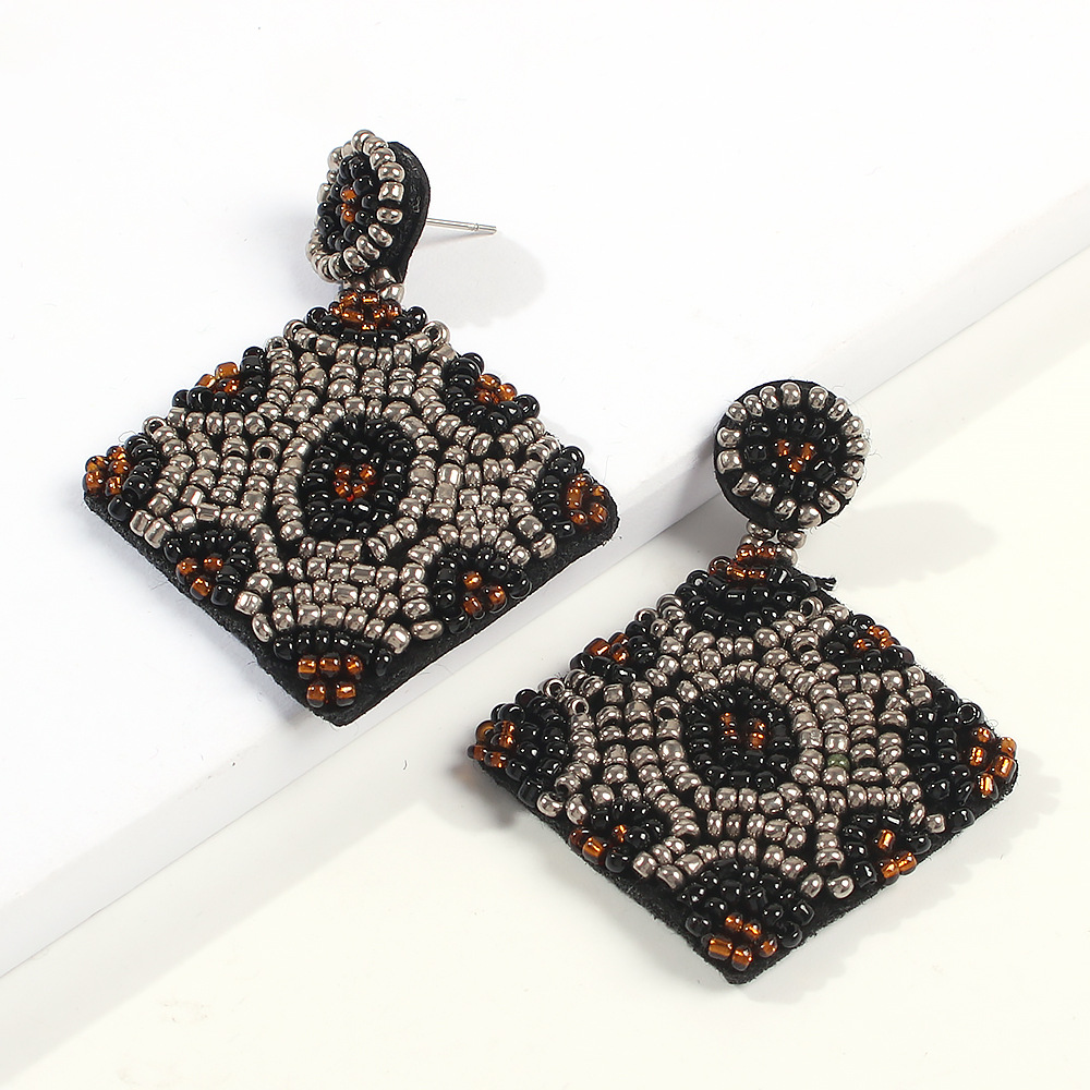 Fashion ethnic style handmade rice beads beaded geometric square earrings NHMD173033