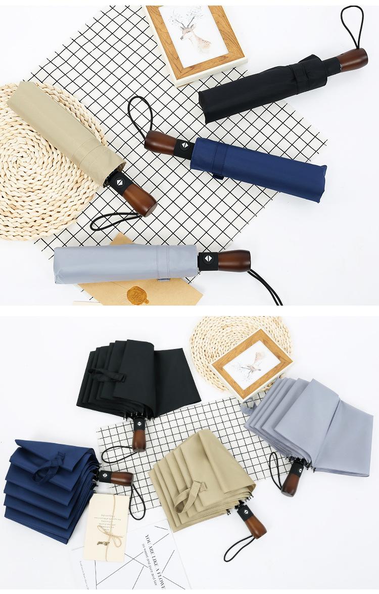 Ten-bone log umbrella 30% off full-automatic sunny umbrella folding umbrella male business solid wood retro umbrella NHNN203926